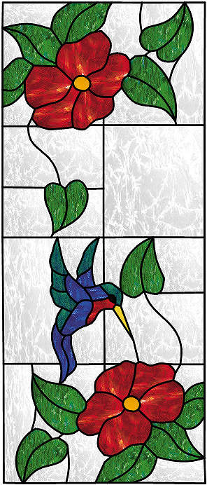 Floral Stained Glass Window Panels