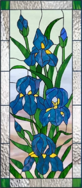 floral 252 iris stained glass panel