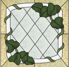 stained glass window twining ivy