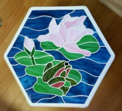 lily pond frog stained glass stepping stone