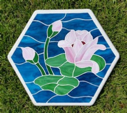 lily pond with flower stained glass stepping stone