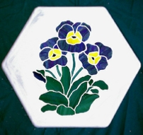 pansy hexagonal stepping stone