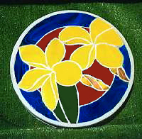 plumeria stepping stone blue border