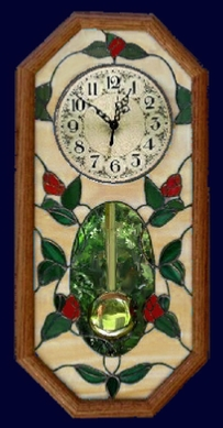 stained glass rosebud clock