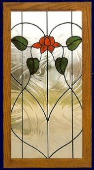 nouveau rose stained glass cabinet insert