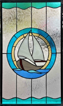 sailboat stained glass window