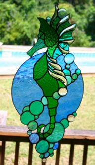 stained glass beveled seahorse