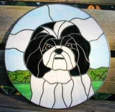 shih-tsu stained glass panel
