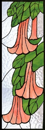 Trumpet flower stained glass panel