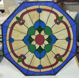 victorian octagon stained glass window