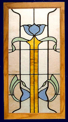 Victorian 13 art glass panel