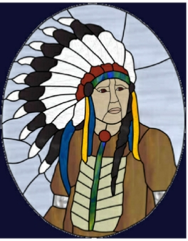 stained glass window Indian Chief
