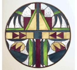 stained glass window - Indian Shield