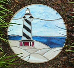 stained glass lighthouse stepping stone