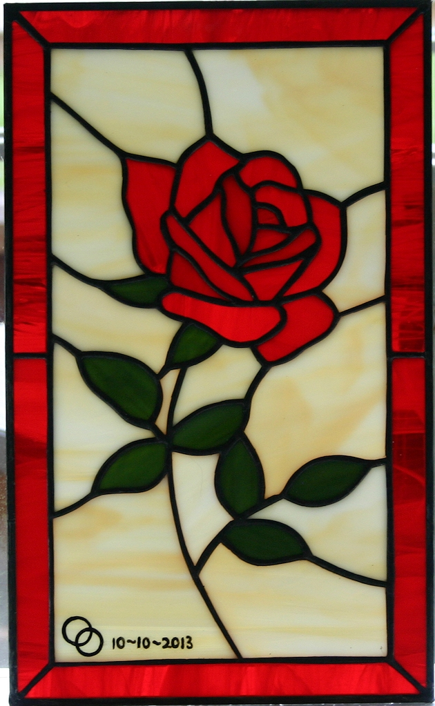 little rose stained glass panel