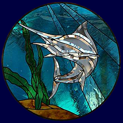 stained glass beveled window - marlin