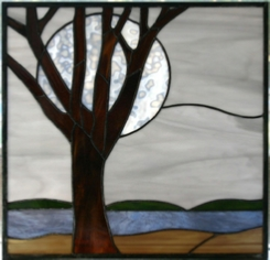 Winter Moon Landscape stained glass panel