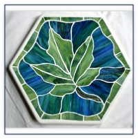 stained glass stepping stone - oak leaf