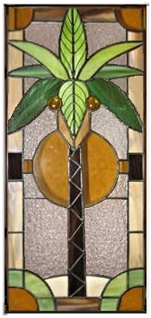 Stained glass coconut palm tree panel