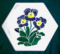 blue pansy stepping stone
