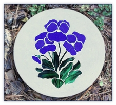 Pansy stained glass stepping stone