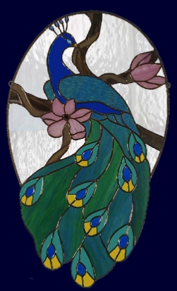 stained glass peacock window