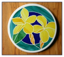Plumeria stained glass stepping stone
