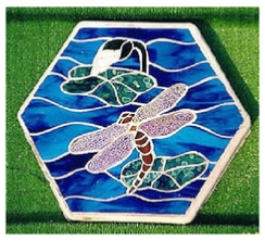 mosaic dragonfly stepping stone