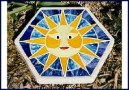 sunface mosaic stained glass stepping stone
