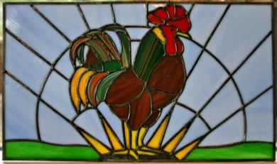 stained glass cabinet insert- rooster at dawn