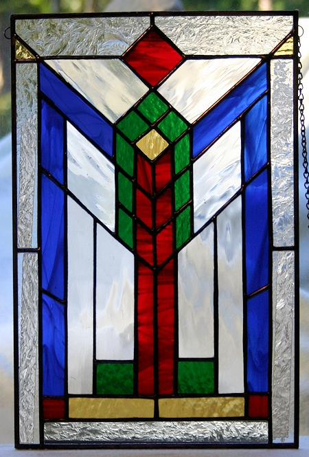 geometric stained glass panel - southwest