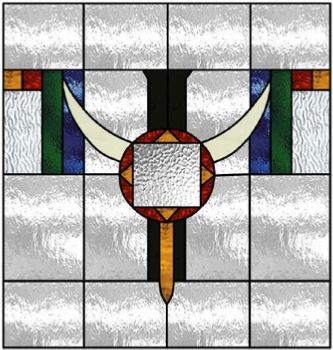 bull horns stained glass window