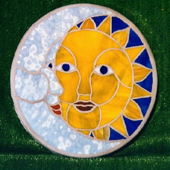 sun and moon stained glass stepping stone