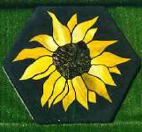 Sunflower stained glass stepping stone