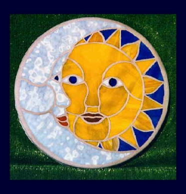 sun and moon mosaic stepping stone