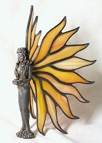 sunshine lady figurine with stained glass wings