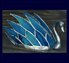 blue glass swan