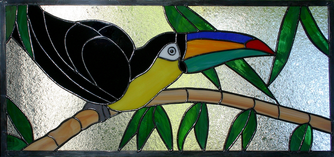 Stained Glass Toucan Transom