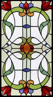 Traditional stained glass window style 90