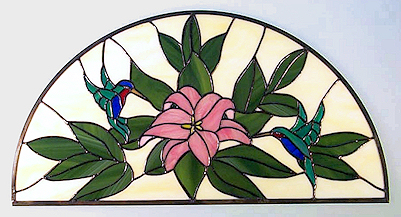 hummingbird arched stained glass transom