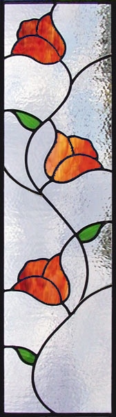 stained glass flower vine - cabinet insert