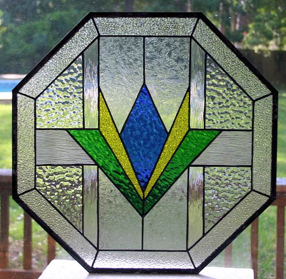 geometric stained glass octagon window