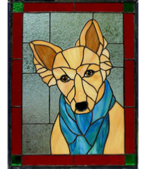 dog with scarf window