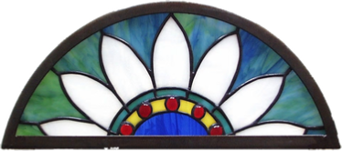 southwest arched stained glass transom
