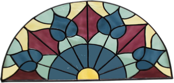 Victorian arched transom - stained glass window