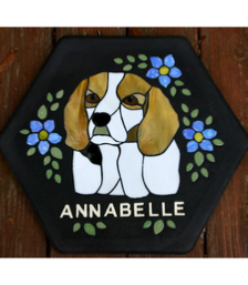 beagle dog stepping stone with lettering