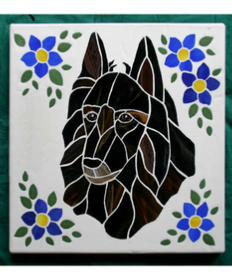 belgian teruvian dog with flowers mosaic stone